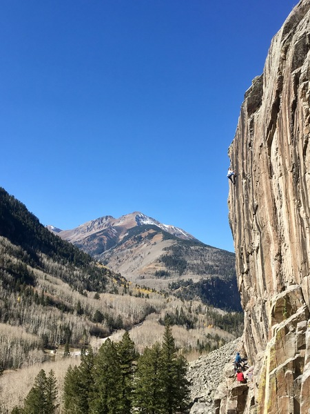 Gold Rush 5.12-, Ophir, CO.<br> <br> Photo credit: Walker Brice.