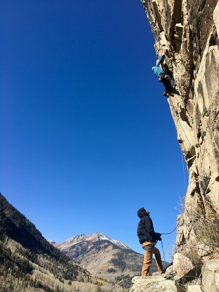 """Neve's Cling On"", 5.11-, Ophir, CO."