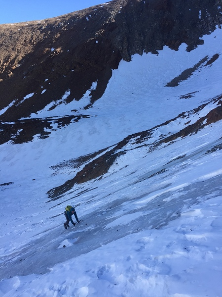 10-17-17. Blue ice before the couloir by the frozen lake. This was the only actual ice in sight. The rest of couloir was mellow neve.