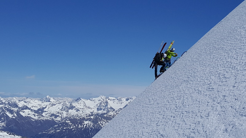A great photo taken of my mountain guide and me, climbing the north face of Wildspitze in Austria