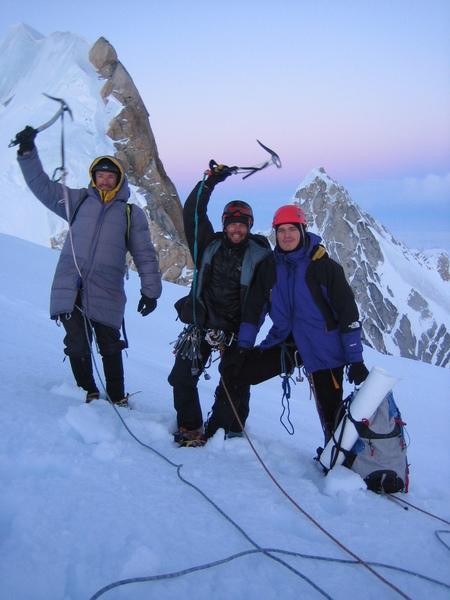 Dima Shirokov, Aleksey Shuryev, Sergey Matusevich on top of Tooth Obsession