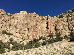 Here's a clearer photo of the two routes we found this weekend. The pinnacle 5.10 on the right is a rough outline of Irish Sausage, while the other 5.8 on the left is a rough route line of Rolling Rock.