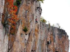 Rock Climbing Photo: Testing the lone c3 placement before the crux sect...