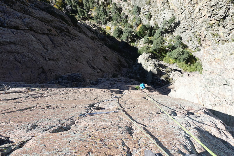 Looking down on the thin seam of the crux 3rd pitch.