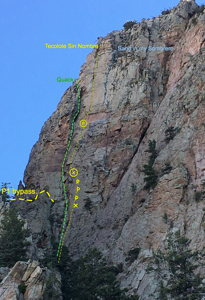Topo of the two routes on the face.