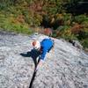 David Lottmann jams up the crack pitch on a beautiful Fall day.