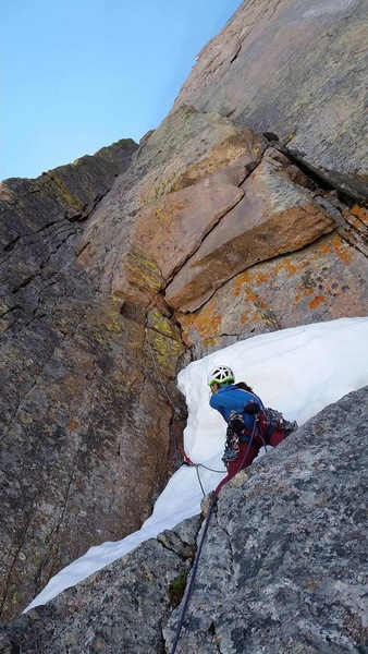Early season snow at the base of the dihedral, P4/P5.