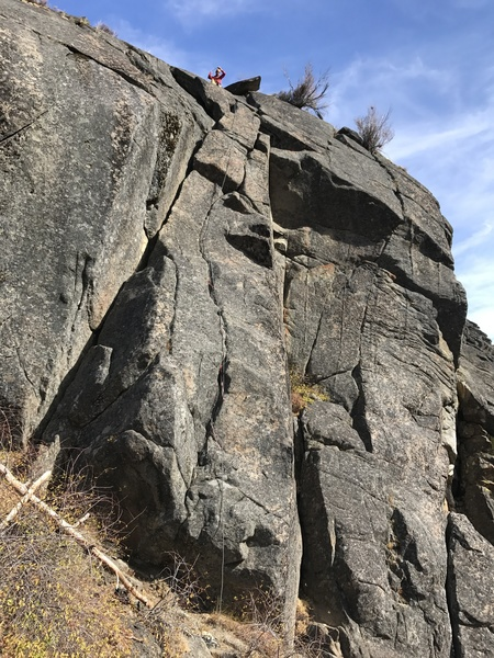 Tobin leading the fabulous 5.7 route on Bob's wall. For route overlay, see the rope line :)