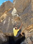 Rock Climbing Photo: Cool V4 on the backside. Stand start. Awesome proj...