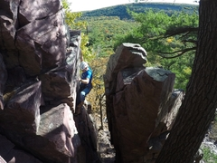 Rock Climbing Photo: Climbing this one on a perfect fall day.  Kind of ...