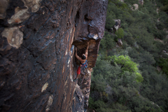 Dave approaching a crux move to mount a lip.