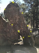 Try not to use the boulder on the left! Has anyone climbed this? We call it the The Loose Crimp.