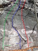 Surely this 35'-40' left section of the Main Wall has been climbed historically, but I am trying to formalize some routes. L-R:  <br />Maddie's Dark Side 5.7 <br />Maddie 5.5 <br />Camille 5.6  <br />(all set and named with reference to the previous graffiti on this section)