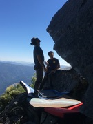 "Nick Greer and David Ortega working out the moves on Nick's classic V8 boulder problem ""Sky Pilot"""