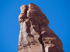 Climbers on the final pitch.