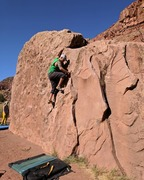 Fun V0/V1 warm up on the slab side of this easy to get to boulder problem.