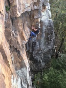 Pulling the crux roof.