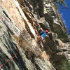 Matt Matera starting the 1st pitch crux of Emilio.
