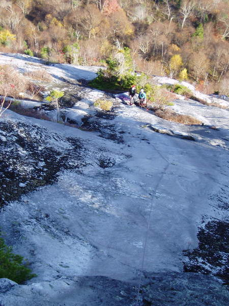 """RN#9 - Looking down """"Orgasmo Slab"""" at the end of another beautiful Oct. day on North Bald Cap"""