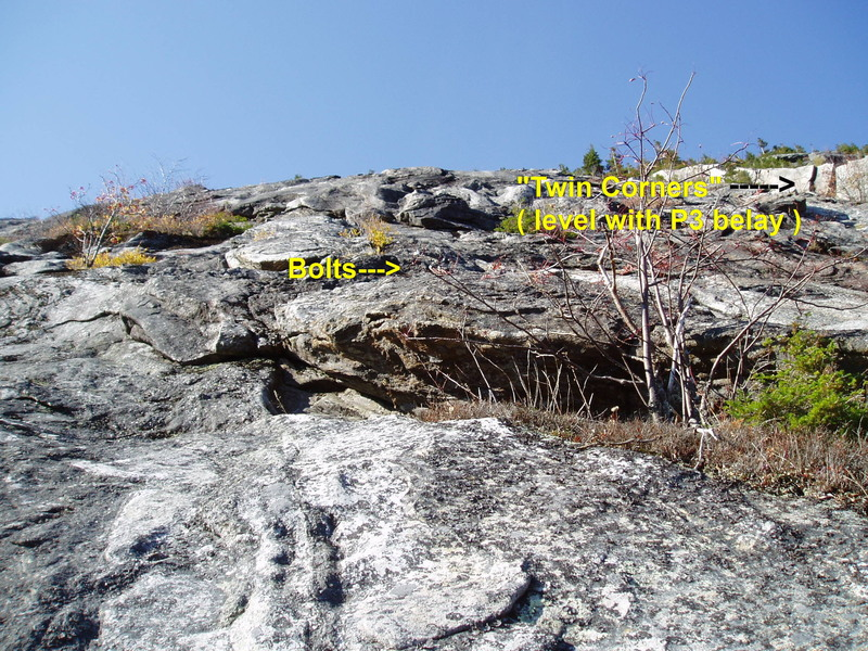 """RN#4 - Looking at the top part of P2 from the top of """"White Slab #1"""" 150 ft up P2"""