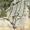 Downstream Crag, Main Slab.  (A) Easy Crack, 5.6; (B) Blade Runner, 5.10a; (C) Blade Runner Right, 5.9; (D) Lichen Face, 5.9
