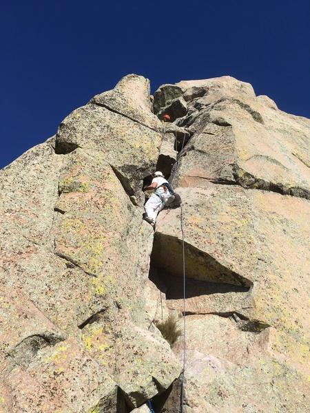 Marta Reece climbing pitch 4.