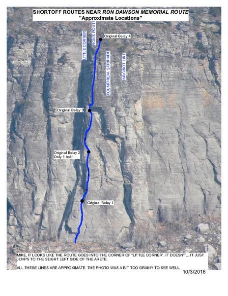 Photo topo of Ron Dawson Memorial Route, Shortoff Mountain
