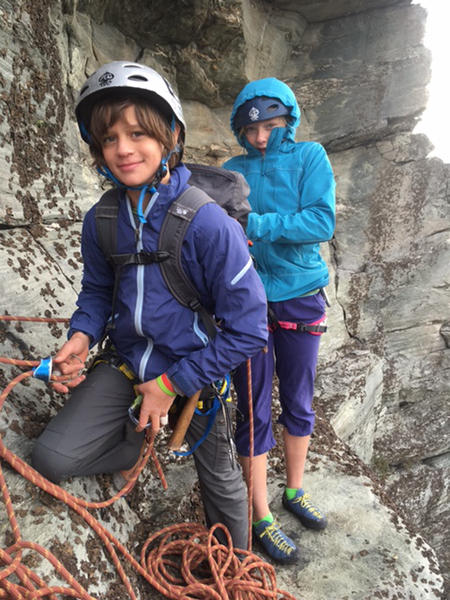 Joe Lackey's kids, Isla (13) and Jack (11), at belay at top of pitch 3, November 2016. Ron's ashes were spread in Linville Gorge.