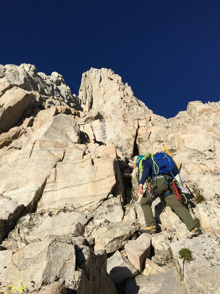 Scrambling up to the start