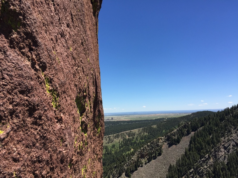 Looking east on the original start 5.10 pitch.