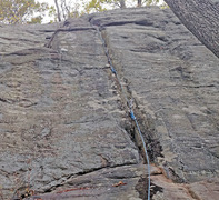 Rock Climbing Photo: Loyalist Crack with protection placed on lead by M...
