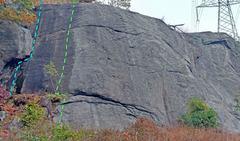 Rock Climbing Photo: West Terrace left side from SW: A. Hammerhead B....