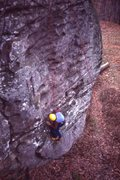 This photo shows me, at the time a beginner climber, attempting Cracker Jack in November 1978. At the time we thought the route was 5.9.