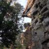 Climber on 'Nine Pound Hammer'.