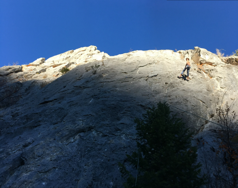 Michael cleaning on an unknown climb (to us, could not find route name). Awesome Limestone sport routes, long and sustained.