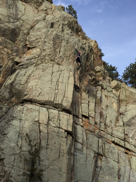 Making the 2nd to last clip on the headwall just before the chains.
