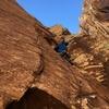 Erik climbing after the P2 crux