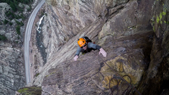 My buddy pulling the last moves on the final pitch, nice and chilly 15 degree day :) <br /> <br />Photo by Tommy Schuch.
