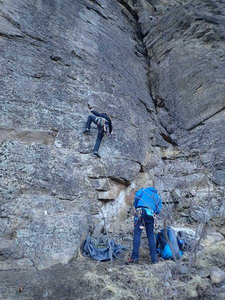 Climbers at the start of Batty