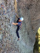 Geoff L. in the thick of the crux on P3 - Sons of the West