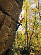 Hunter Pedane going into the light on a beautiful October day.