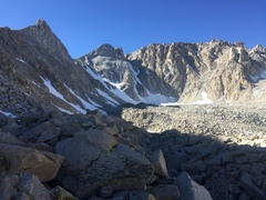 North couloir on 10/29/17. Looked to be ice down low and neve the rest of the way.