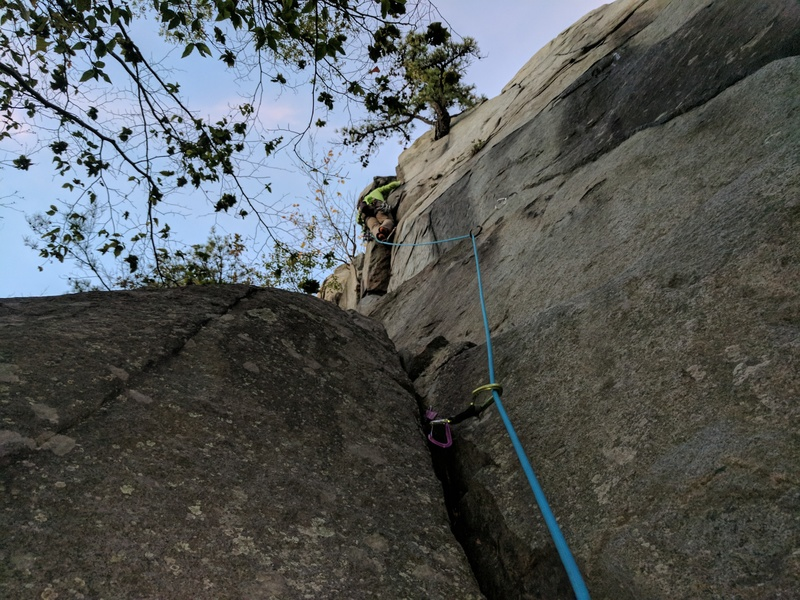 A climber pulling the crux on Hot Shot crack (left of tree); the upper section of White Face follows the crack to the right of the tree.