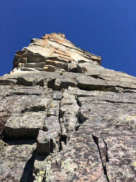 The last two pitches on Timebinder. the crux pitch is the middle splitter on the upper wall.