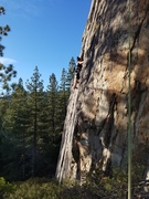 Angie climbing a new Carville route at BS wall.
