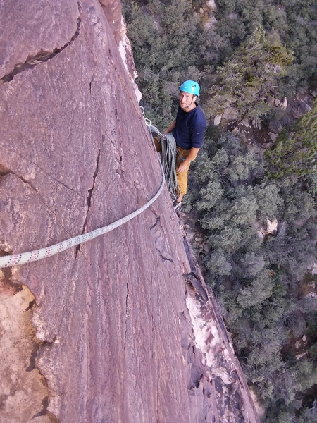 Optional belay.  Maybe 5.8 below this. 5.9/5.10- above.