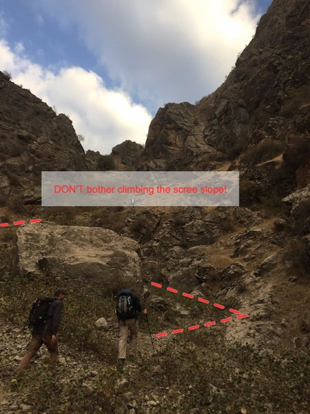 WALK-IN 3: walk past the bottom of the site and keep following the path up the valley floor