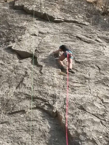 This route doesn't work with a 50m rope! ...dragging up a 100m rope to re-set a top-rope!