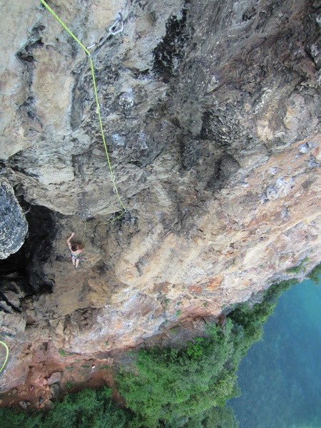 Looking down P2 of Circus Oz from the P3 belay.