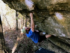 DJ Sizzle Digits crimping down on the first crux